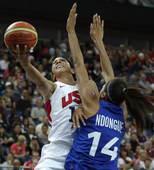 奥运图:美国女篮实现五连冠 帕克强势上篮