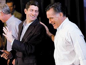 共和党总统参选人罗姆尼与竞选搭档保罗・瑞安左。