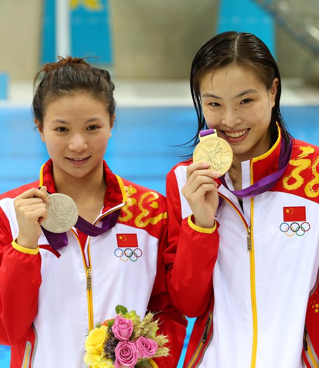 12年伦敦奥运会跳水_2012年8月5日伦敦奥运会跳水女子3米板颁奖仪式举行,中国选手吴敏霞