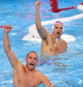 奥运图:男子水球克罗地亚夺冠 庆祝胜利