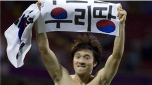 韩国奥委会说,标语来自韩国球迷。