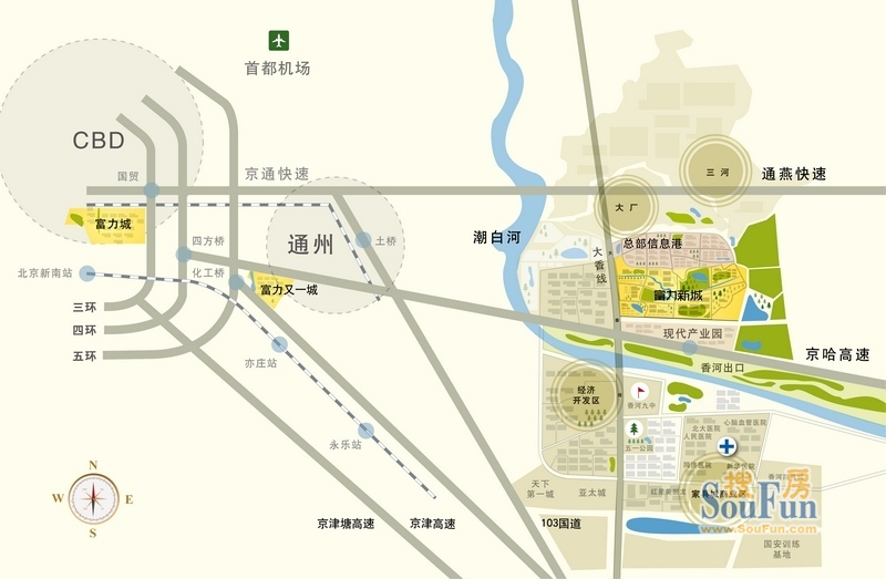 北京市规划建设的大外环与京津唐第二高速横纵贯穿;向西与通州(社区
