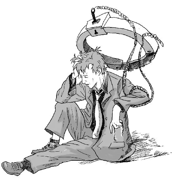 手绘古代男子下跪
