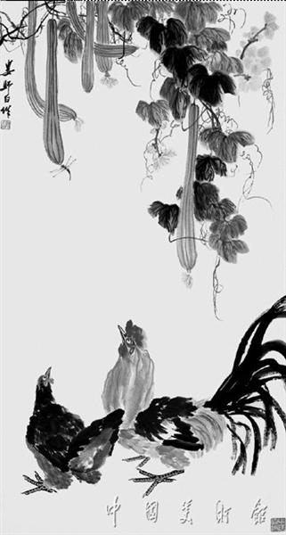 娄师白画作《丝瓜双鸡》图片