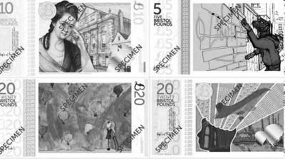 """布里斯托尔/""""布里斯托尔镑""""的钞票样版。新钞以当地特色建筑物、人物和..."""