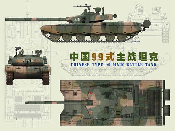 中国 平果/99坦克三视图