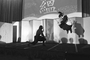 日本三重县上野市伊贺流忍者博物馆里的忍者表演