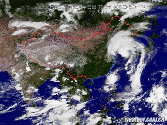 """大连 山东/28日台风""""布拉万""""卫星云图"""