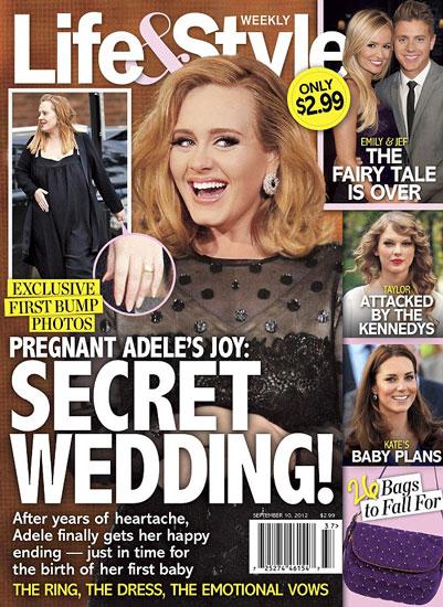 阿黛尔无名指惊现婚戒 已秘密完婚