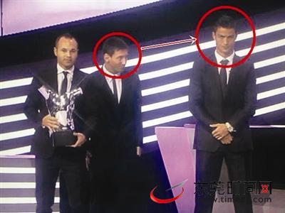 梅西/小白当选欧足联最佳球员可球迷只关心C罗梅西的表情(组图)