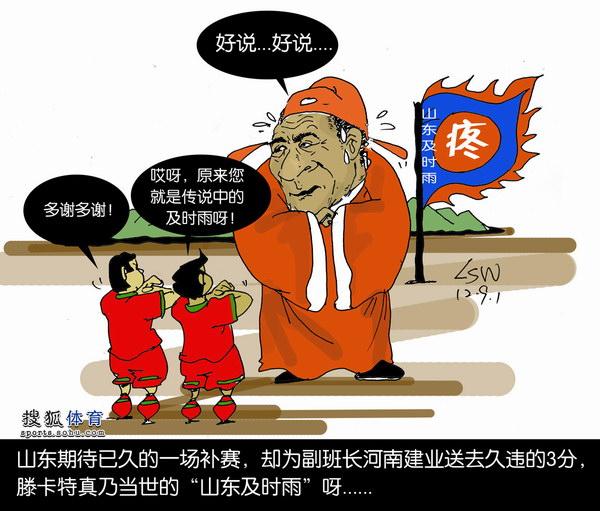 """刘守卫漫画:鲁能及时雨""""救""""建业"""