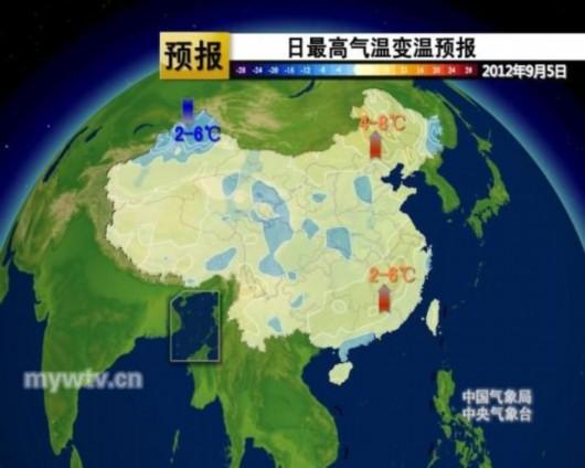 日最高气温变温预报图(图片来源:中国气象视频网)-北方夏秋转换