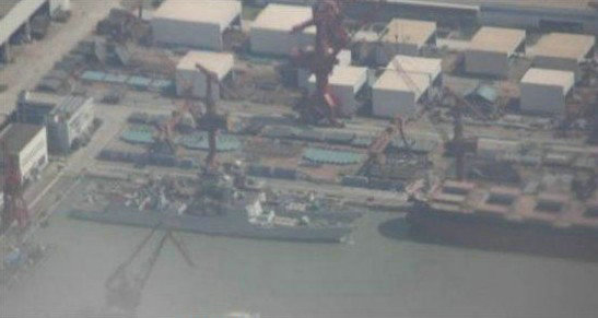 资料图:网上流传的中国正在建造的052D导弹驱逐舰。
