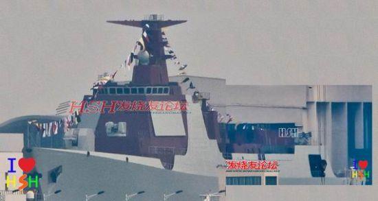 网上流传的在建中的052D驱逐舰。图片来源:HSH论坛