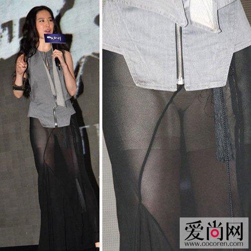 刘亦菲黑色透视纱裙搭配