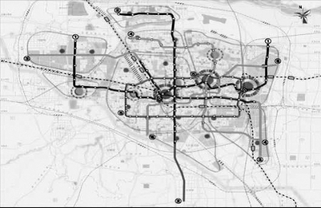 轨道交通近期建设项目分布示意图