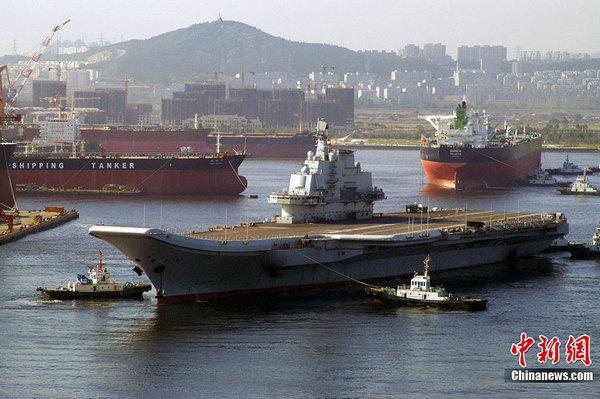 资料图:中国航母开始第十次海试征程。