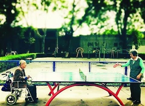 老人坐轮椅与老伴打乒乓球 最浪漫照片感动网友