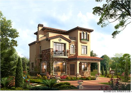 别墅影��k�_碧桂园马来西亚项目西班牙风格独立别墅效果图