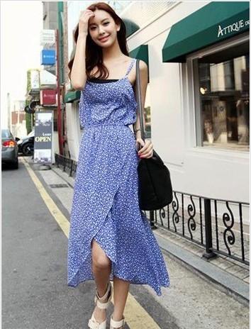 清新/Angelababy的身材非常的完美,身穿不规则设计的连衣长裙搭配...