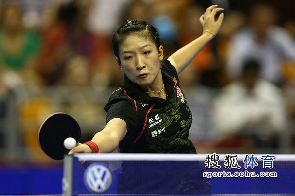 图文:女乒世界杯决赛赛况 刘诗雯防守