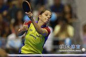 图文:女乒世界杯决赛赛况 萨马拉回球一瞬