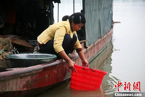 蓬安嘉陵江畔,打渔而归的渔民正在清洗渔具。高寒 摄