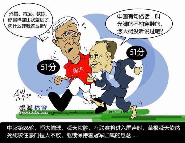 刘守卫漫画-中超-光脚的舜天紧追穿鞋的恒大