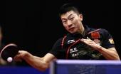 图文:男乒世界杯马龙夺冠 马龙正手回球