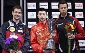 图文:男乒世界杯马龙夺冠 前三名在领奖台上