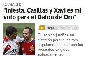 《阿斯报》截屏:卡马乔金球力挺西班牙三星