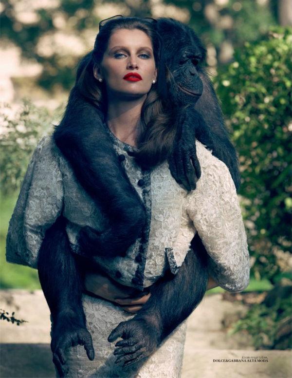 美女与猩猩调情 怪趣味的时尚大片 搜狐女人