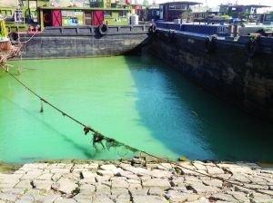 昨天下午,受污染河段颜色变绿。现代快报 记者 林清智 摄