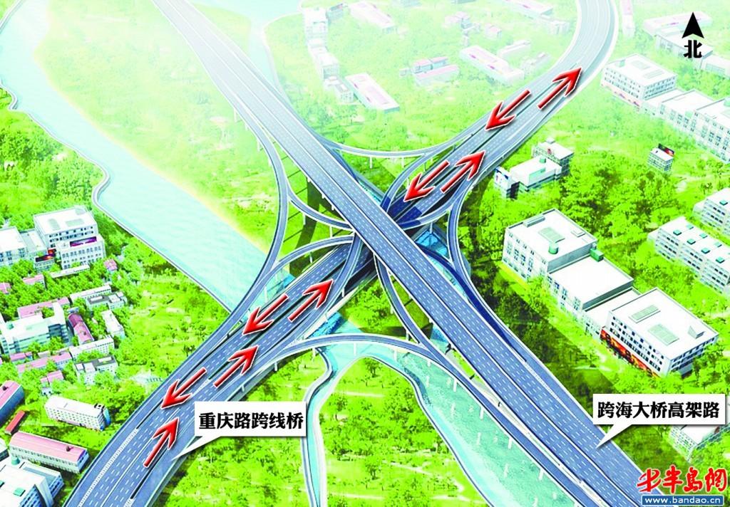 重庆路南北跨线桥通车示意图。
