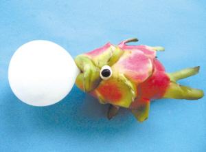 火龙果变成了吹泡泡糖的鱼.