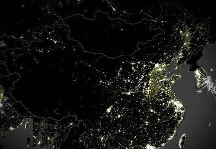 中国 拍摄/资料图:卫星拍摄的中国夜景图