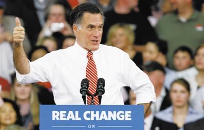 11月1日,弗吉尼亚州,共和党总统候选人罗姆尼在竞选活动上发表演讲。新华社发