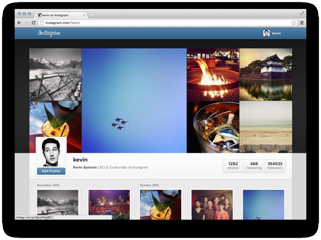 网页版instagram新增个人主页展示功能