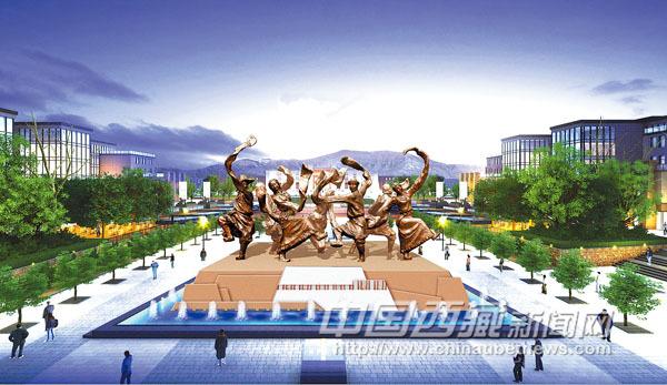 拉萨之窗广场铜人雕塑效果图.