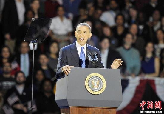 2012年美国大选结果于当地时间11月7日凌晨出炉。奥巴马成功连任。图为奥巴马在芝加哥举行的大选之夜晚会上发表演讲。中新社发 毛建军 摄