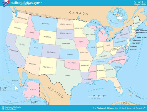 美国地图资料图