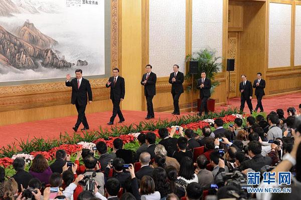 11月15日,新一届中央政治局常委同中外记者见面。新华社记者王晔