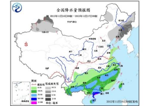 中新网11月16日电据中央气象台预报,受冷空气继续东移南下影响,16~17日,中国中东部地区将有4~6℃,局地8℃以上降温,南方地区有明显降水过程,东北地区和内蒙古有明显降雪。