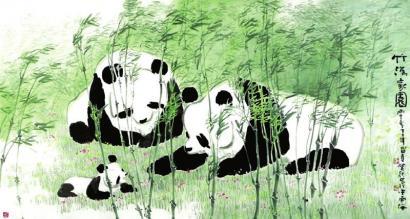 家园风景动物绘画