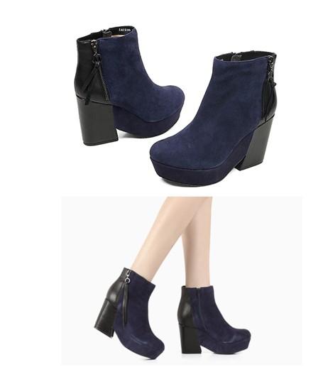 2012冬季轻摇滚奢华风—tata他她蓝色羊绒接拼黑色小牛皮 女士短靴图片
