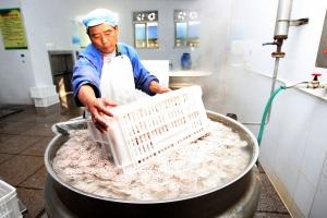 工作人员正在加工藕片。张卓君 摄