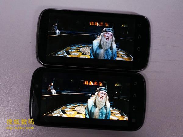 两款手机播放高清视频对比