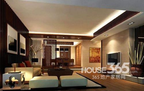客厅中式装修风格:中式主调搭配现代简约的电视背景墙及沙发图片