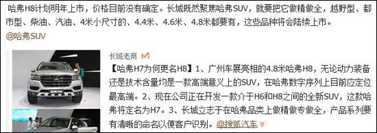 长城汽车相关领导在搜狐微博中向广大网友透露了哈弗产品规划