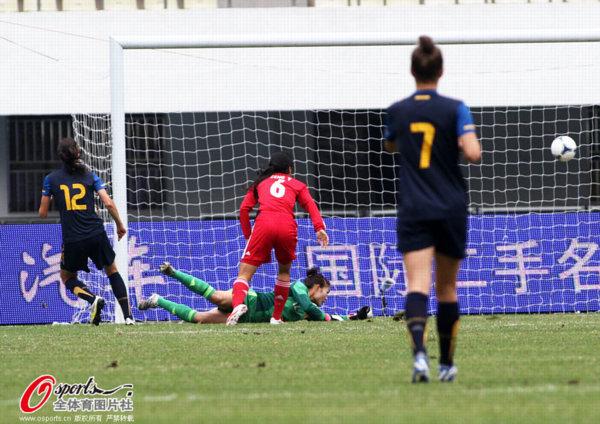 搜狐体育讯 2012年11月24日,2013年东亚四强赛女足资格赛,中国vs